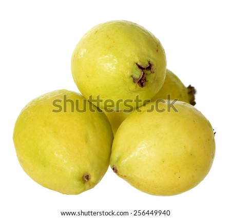 a lot of guava isolated on white background  - stock photo
