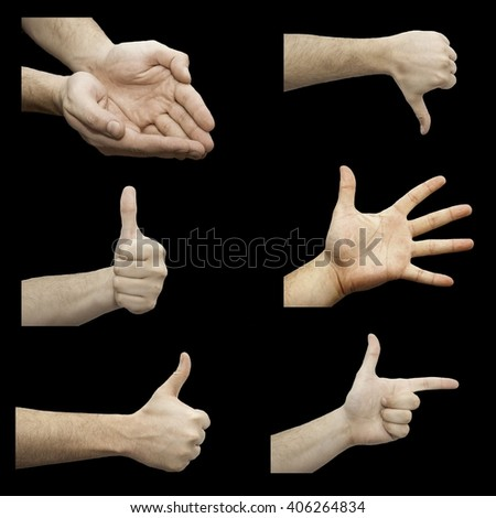 a lot of hands on a black background - stock photo