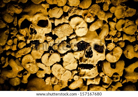 a lot of human bones - stock photo