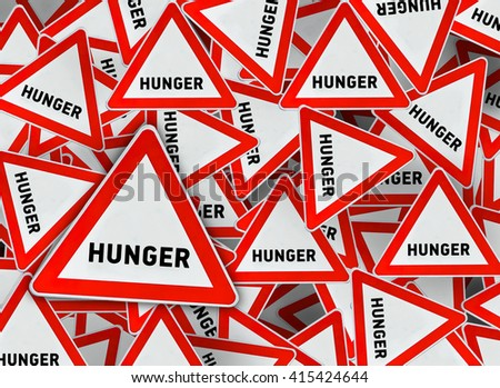 A lot of hunger triangle road sign - stock photo
