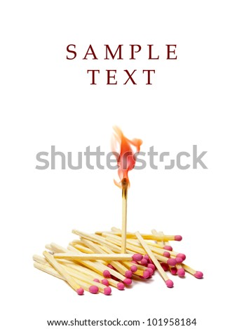 A lot of matches on white isolated background. A match is lit. - stock photo