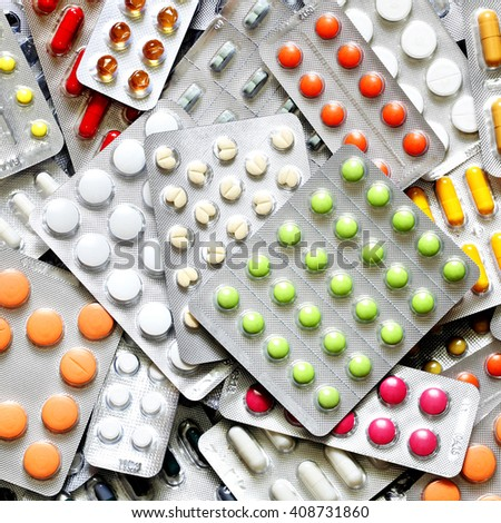 A lot of medicine pills in packs - stock photo