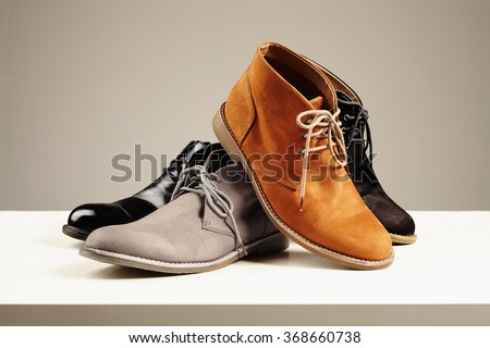 a lot of men's shoes.men fashion still life.boots