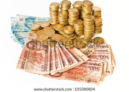 a lot of mexican pesos money isolated on white background, coins and bank notes - stock photo