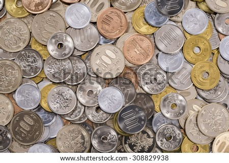 a lot of money, japanese currency - stock photo