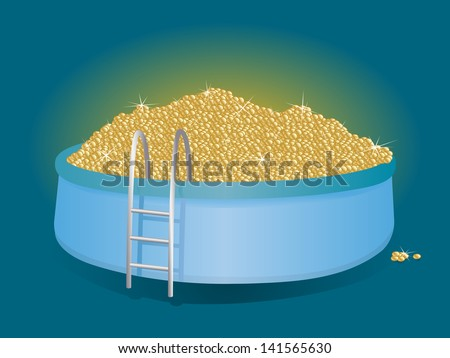 a lot of money. mountain of gold coins in the pool - stock photo