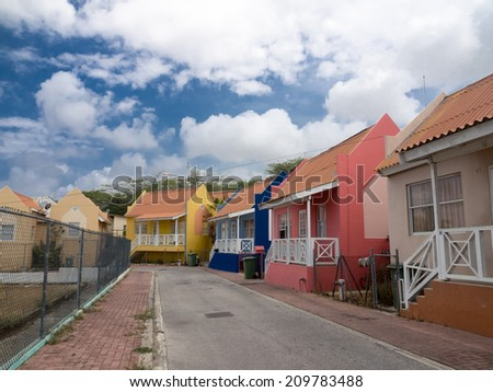A lot of old buildings around Punda Willemstad on the tropical Caribbean Island of Curacao