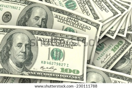 A lot of one hundred dollar bills  - stock photo