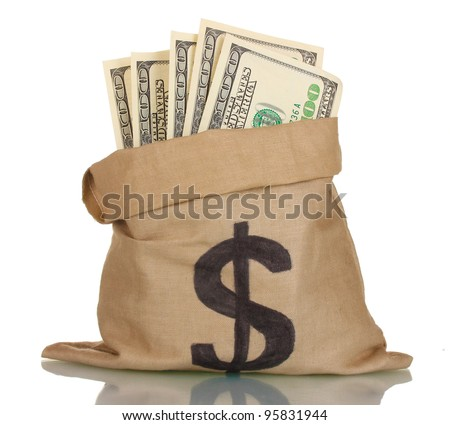 A lot of one hundred dollar bills in a bag isolated on white - stock photo