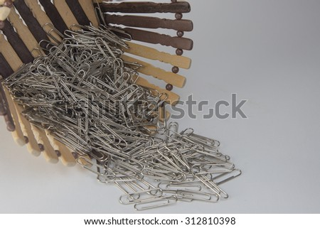 a lot of paperclip in basket on white background
