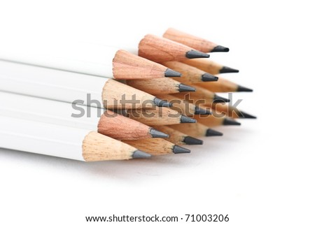 a lot of pencils isolated against a white background - stock photo