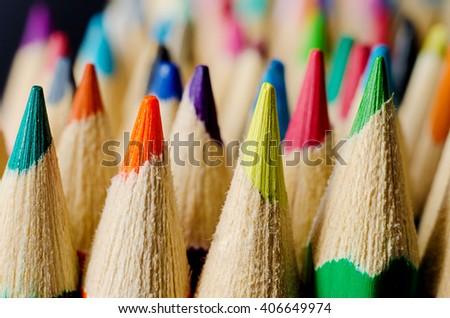 a lot of pencils macro - stock photo