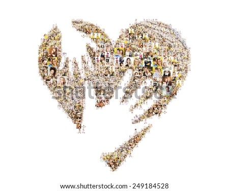 a lot of pictures of people form the heart symbol. - stock photo
