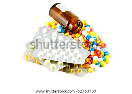 A lot of pills and medicines - stock photo