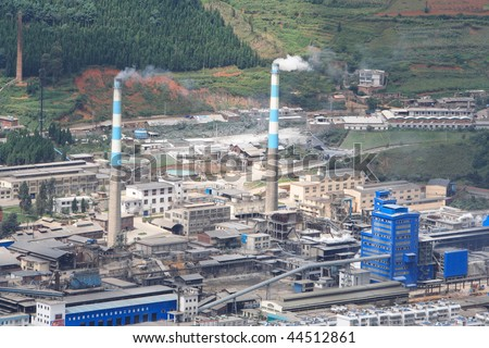 A lot of pollution Factory - stock photo