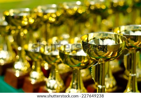 a lot of prize cups outdoors - stock photo