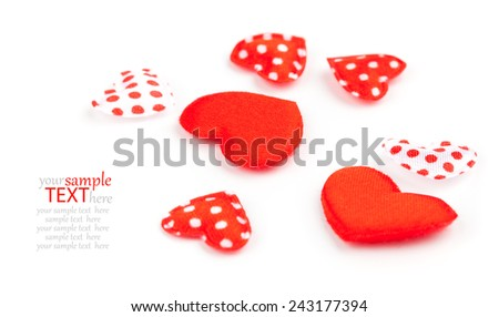 A lot of red hearts on white background - stock photo