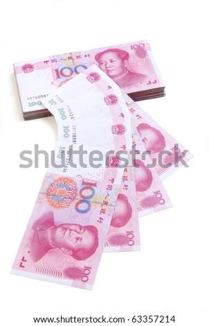 A lot of Renminbi on white  background - stock photo