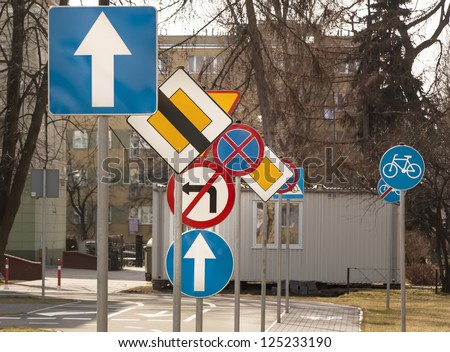 A lot of road signs. - stock photo