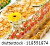 a lot of seafood cold snacks on buffet table, catering - stock photo