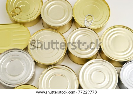 a lot of tin cans - stock photo