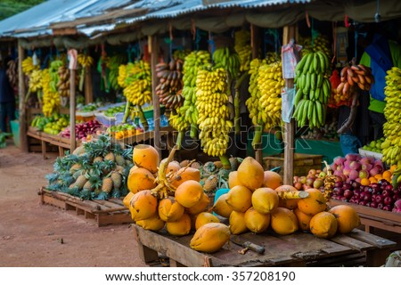 A lot of tropical fruits in outdoor market in Sri-Lanka - stock photo