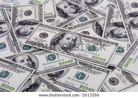 A lot of US hundred dollar bill as a background.