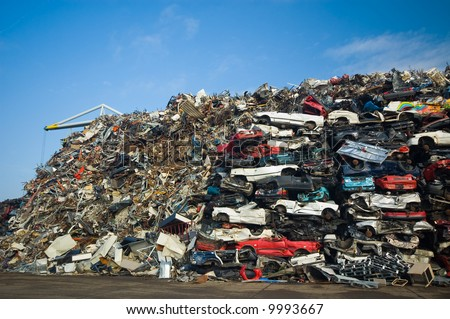 A lot of used cars in the junkyard - stock photo