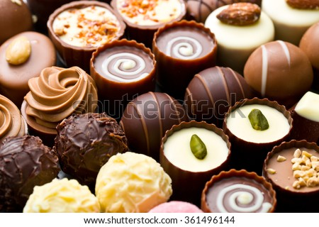 a lot of variety chocolate pralines - stock photo