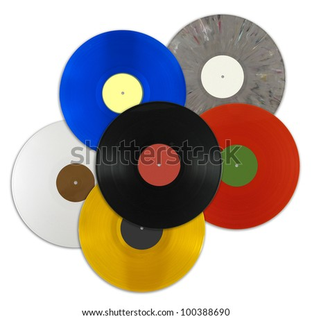 A lot of vinyl records in different colors isolated on white background (includes a clipping path) - stock photo