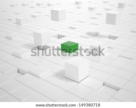 A lot of white Cubes matching together and building a Platform with a green Cube in Center