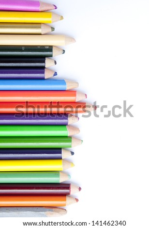 A lot of wooden color pencils Stub  on white - stock photo