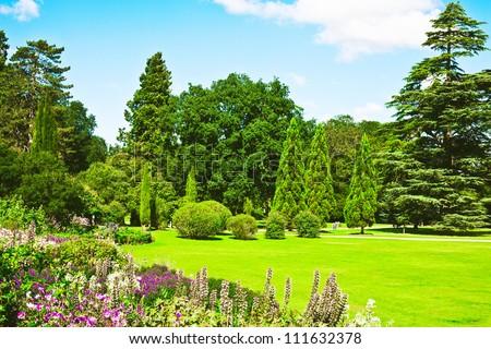 A lovely english garden in full summer colour - stock photo