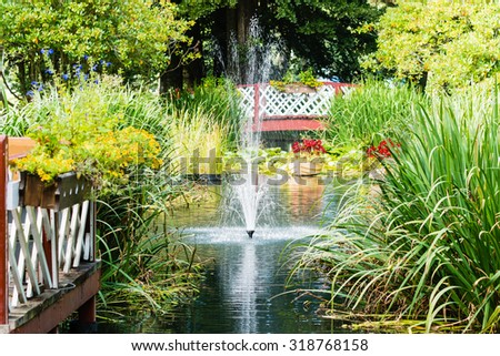 A lovely small water fountain in a public park. Water is surrounded by ornamental plants and grass. No person visible. Weather is sunny and calm. It is late summer.
