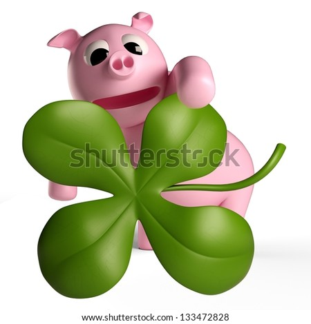 A lucky charm can be a clover, a pig or a rider as a chimney sweep - stock photo