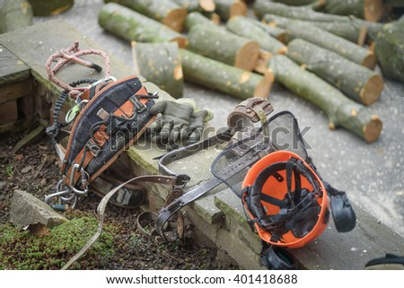 A Lumberjacks tools waiting to be used - stock photo