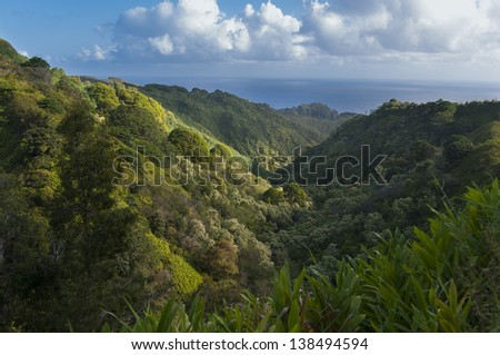 A lush valley on the Road to Hana, Maui, Hawaii, USA - stock photo