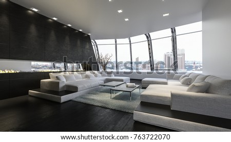 modern penthouse. A luxurious and modern penthouse lounge room with large sofas sweeping  views of the city Interior Stylish Modern Penthouse Apartment Large Stock