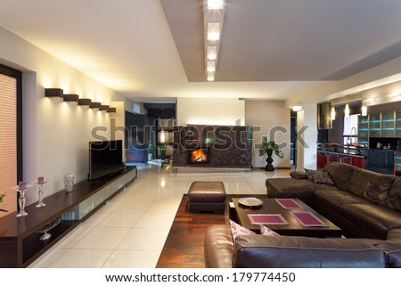 A luxurious living room with stylish furniture and a fireplace - stock photo