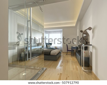 3d illustration nursery boy render bedroom stock for Non see through glass for bathrooms