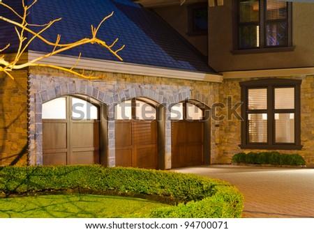 Luxury House Three Garage Doors Suburbs Stock Photo 94700068 ...