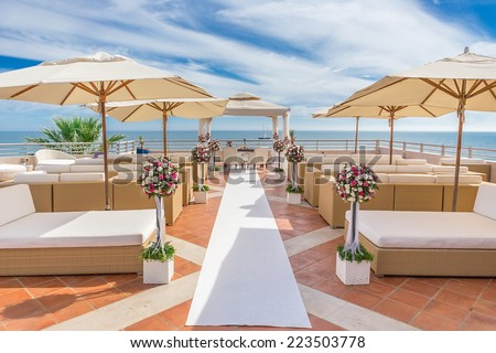 A luxury platform for wedding ceremony. On the coast. - stock photo