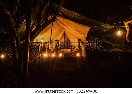A luxury tent at a safari game lodge - stock photo