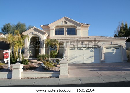 A luxury upscale home in an suburb for sale - stock photo