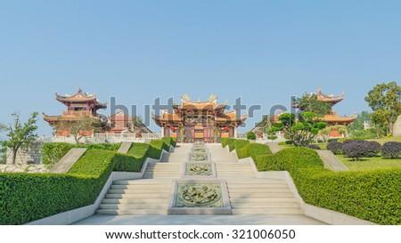 A-Ma cultural village and blue sky  in macau china - stock photo