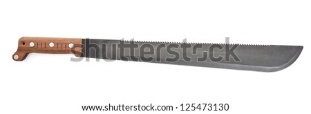 A machete with wooden handle isolated on a white background