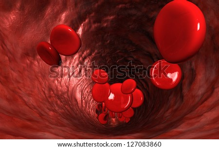 A macro closeup of a blood vein with red blood cells flowing through it - stock photo