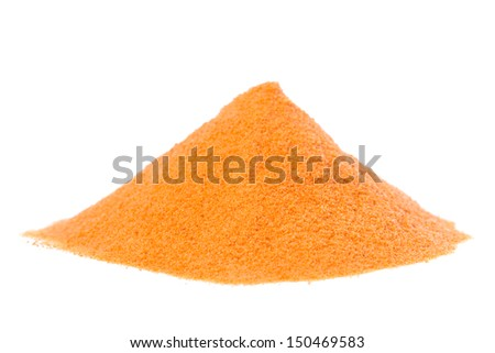 A macro photo of Goji Berries / Wolfberry powder on white background.
