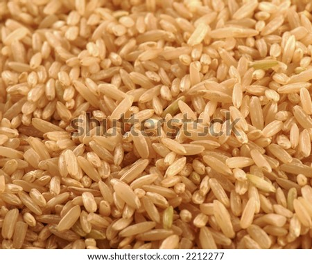 A macro picture of brown rice.  This was shot with use as a background in mind.