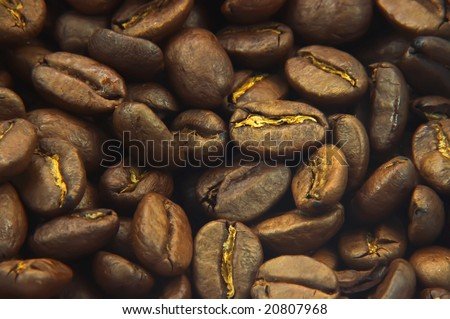 A macro shot of coffee beans